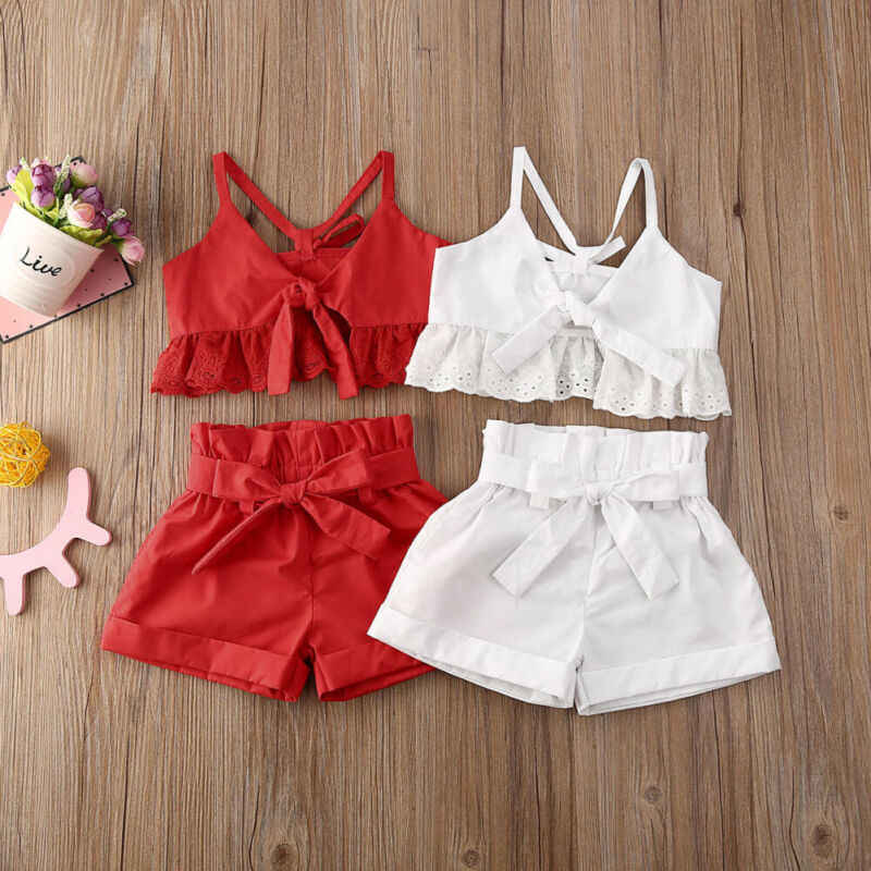 Baby Girl Kids Newborn Toddler Infant Bowknot Dress Summer Clothes Tops Outfit