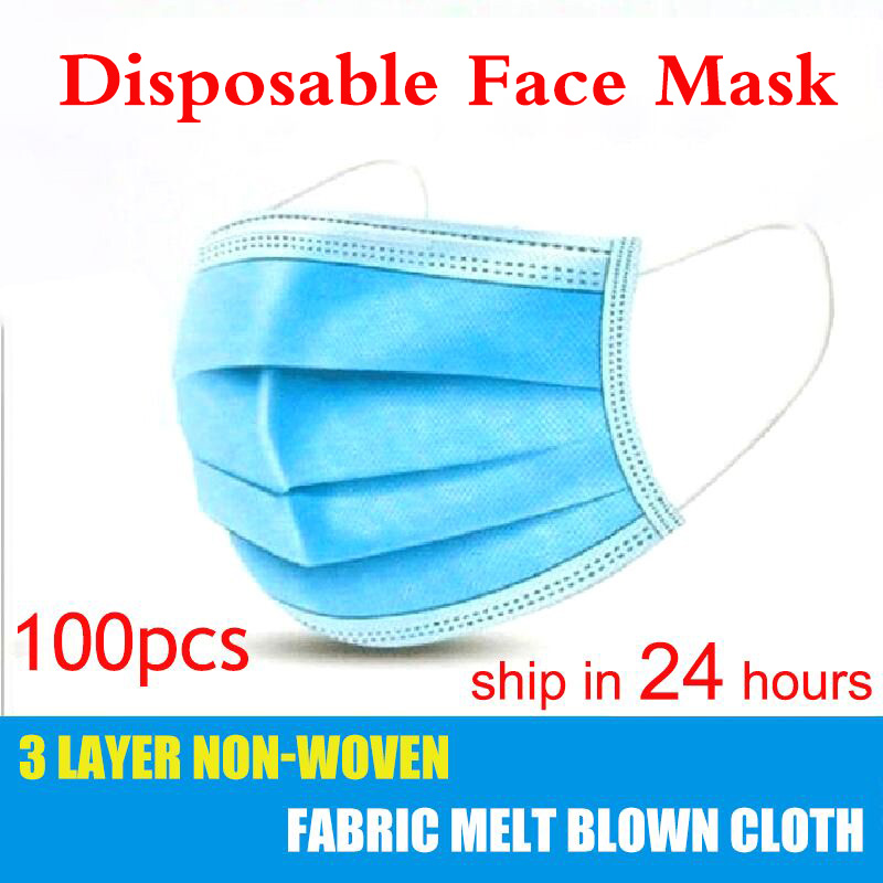 10pcs/50pcs/100psc Mask Disposable Three-layer Filte Dust-proof Non-woven Melt Blown Cloth Mask Mouth Mask