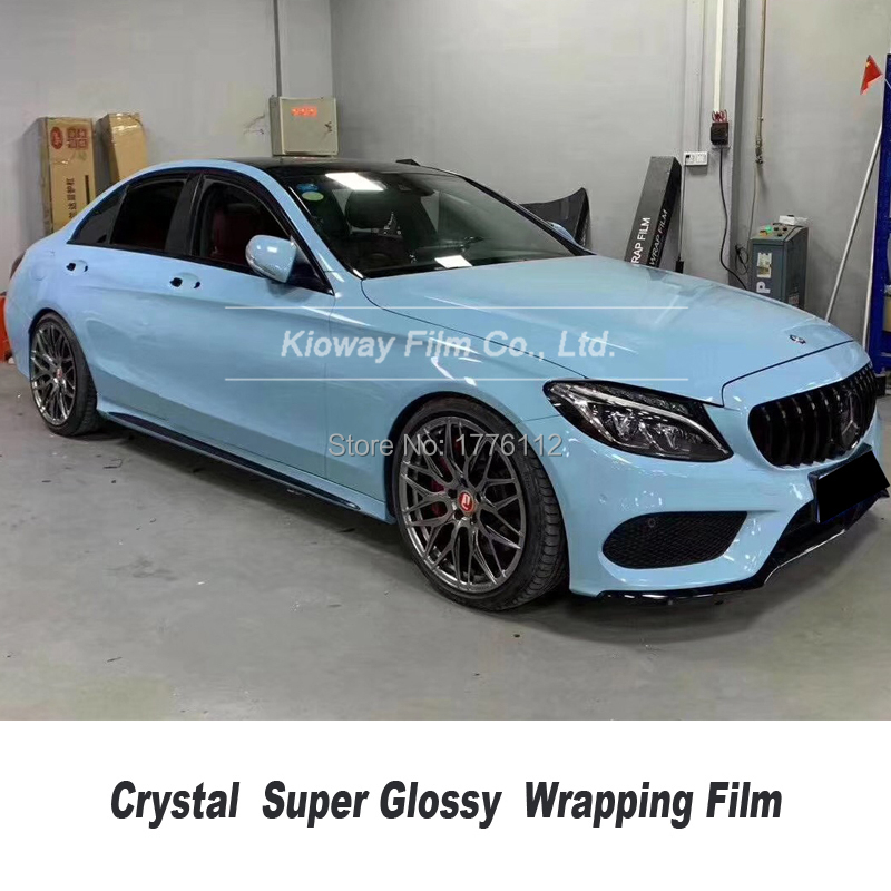 Newest color gloss sea breeze blue vinyl wrap wrappinng film car rapping Car wrapping Foil high end film quality Warranty(China)