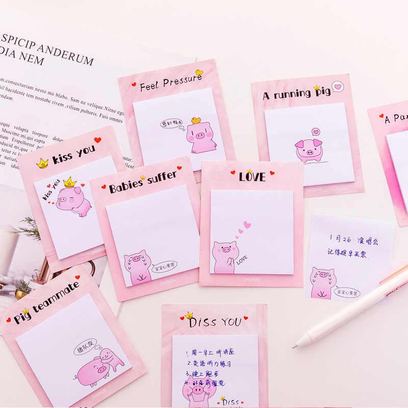 Bonito kawaii rosa porco criativo almofada de memorando notas pegajosas memorando caderno papelaria post nota papel adesivos material escolar escritório