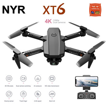 2020 New Mini Rc Drone XT6 4K 1080P HD Dual Camera WiFi FPV Air Pressure Altitude Hold Foldable Quadcopter Gps Dron for boy toys 2020 new f3 gps drone 4k 5g wifi foldable 4k 1080p hd camera quadcopter follow me fpv 25mins altitude hold durable rc drone dron