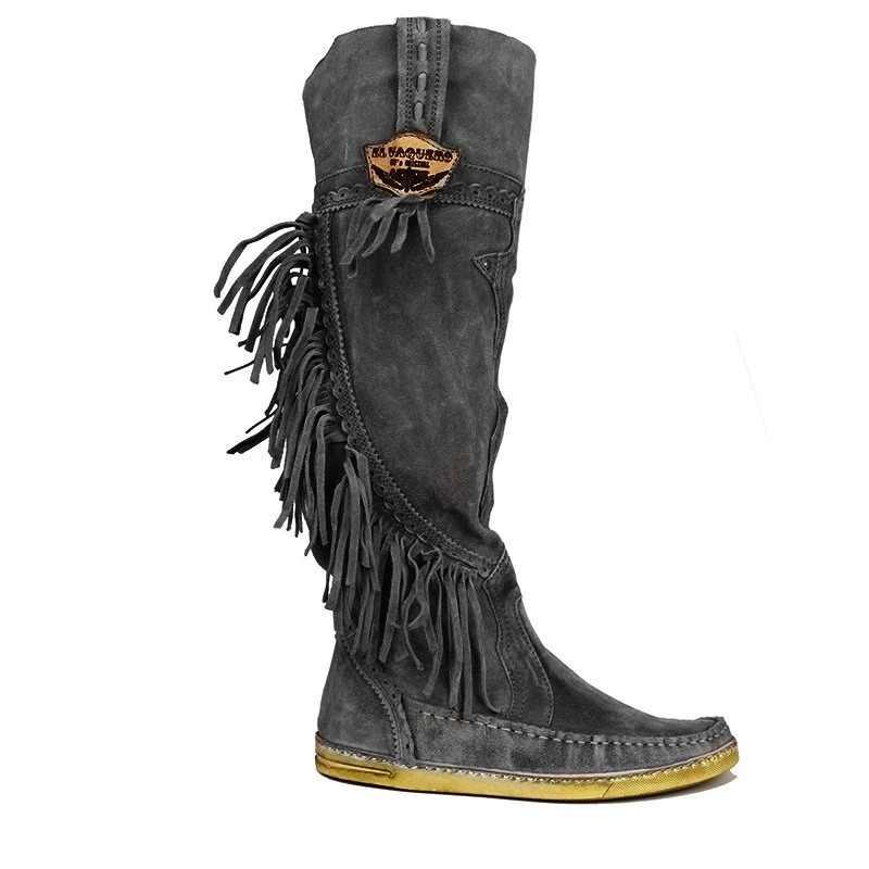 2019 kadın etnik tarzı orta tüp düz ayakkabı şık sıcak kürk çizmeler düşük topuk süet çizmeler uzun saçak kış işlemeli çizme