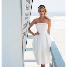 Verngo Simple Boho Wedding Dress Ivory Satin Short Bridal Elegant Aline Gowns 2019 Dresses Turkey