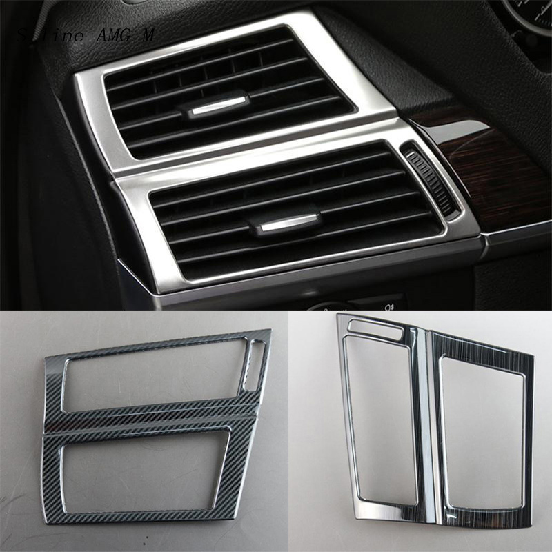 Carbon fiber Car Styling For <font><b>BMW</b></font> X5 X6 <font><b>E70</b></font> E71 Dashboard Air Conditioner Outlet Frame Decoration <font><b>Interior</b></font> Covers Stickers <font><b>Trim</b></font> image
