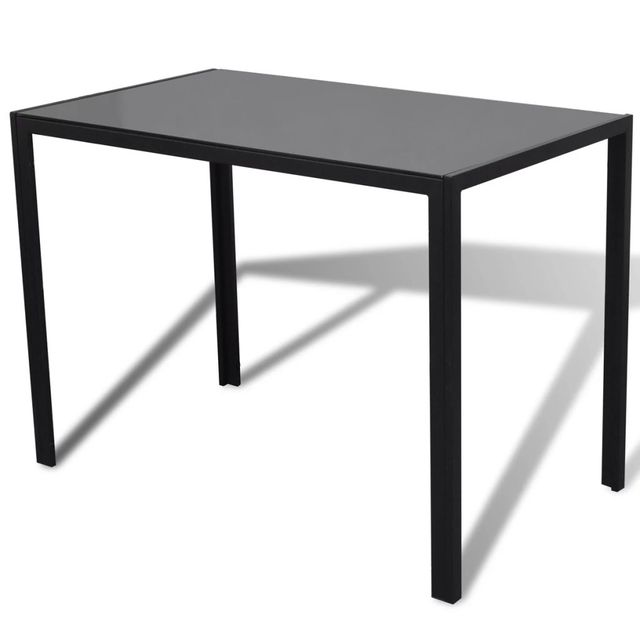 Seven Piece Dining Table and Chair Set Black and White 5