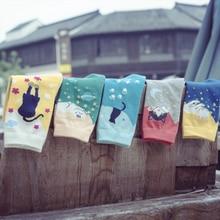 Милые женские носки с котом, носки средней длины из хлопка с мультяшным рисунком, новая мода для девочек, высокое качество