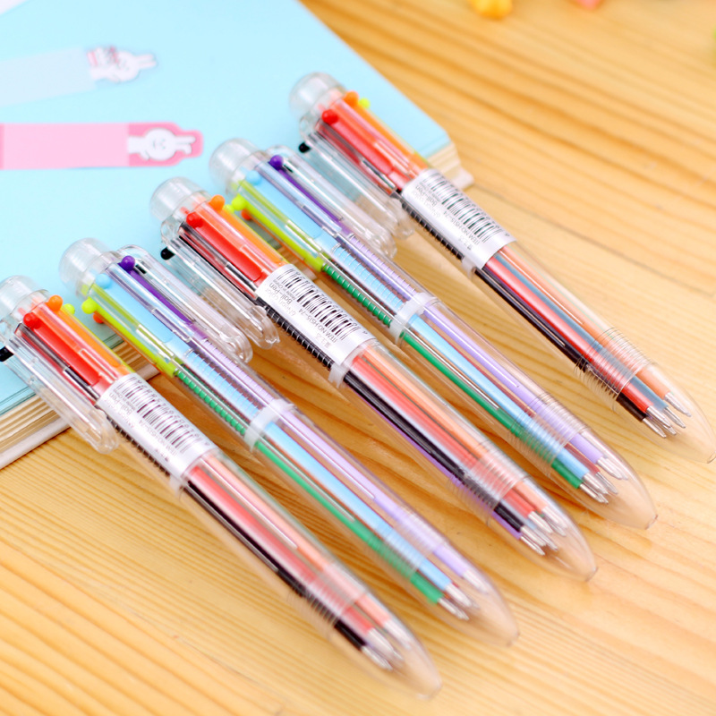 3 Pcs 6 Color In One Set Red Blue Black Ball Point Ballpoint Pen For Writing School Office Supplies Stationery Learning Supplie