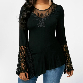 Fashion Lace Blouses Flare Sleeve Shirts For Womens Tops Shirt Plus Size Women Clothes Irregular 2019 Blusas Female 5xl 4xl 3xl 1