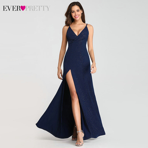 Image 3 - Ever Pretty 2020 Sexy Navy Blue Prom Dresses Sexy V Neck Sparkle Leg Slit Long Simple Elegant Formal Party Gowns Abendkleider