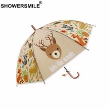 SHOWERSMILE Kids Umbrella Deer Children POE Transparent Animal Print Cartoon Girl Boys Rain Sun Cute Brand Parapluie