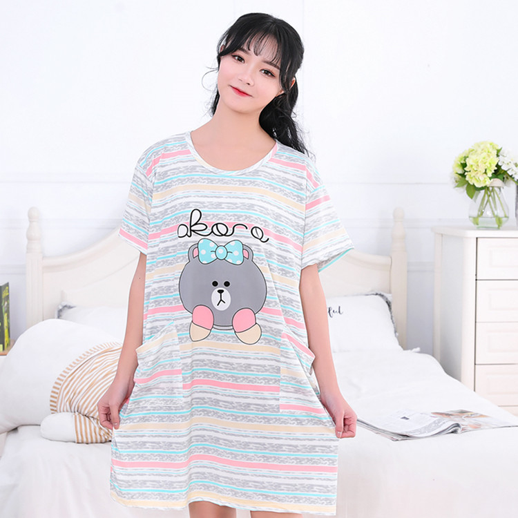 2019 Summer Short-sleeved Fat Mm Cute Nightgown Plus-sized With Pocket Qmilch Cartoon Large Size Home Skirt