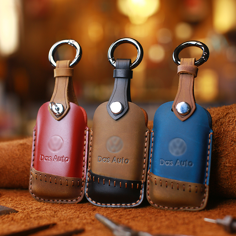 Leather Car Key Case Cover Protector For Volkswagen-VW Golf 7 R MK7 Tiguan For Octavia A7 mad horse leather car key shell bag