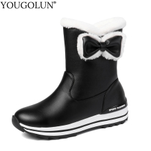 Bowknot Wedges Snow Boots Women Winter PU Long Warm Shoes Woman A326 Sexy Lady Black White Pink Round Toe Platform Ankle Boots цены онлайн