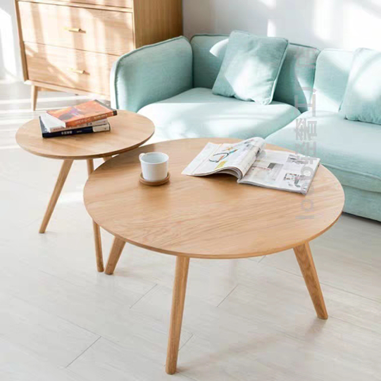Modern Simple Solid Wood Coffee Table Nordic Small Round Tea Table Living Room Furniture Casual Sofa Side Assembly Coffee Table