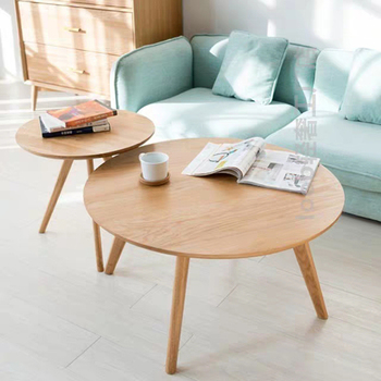 Modern simple solid wood coffee table nordic small round tea table living room furniture casual sofa side assembly coffee table simple modern sofa side corner several moving bedside table american style solid wood living room small round coffee table