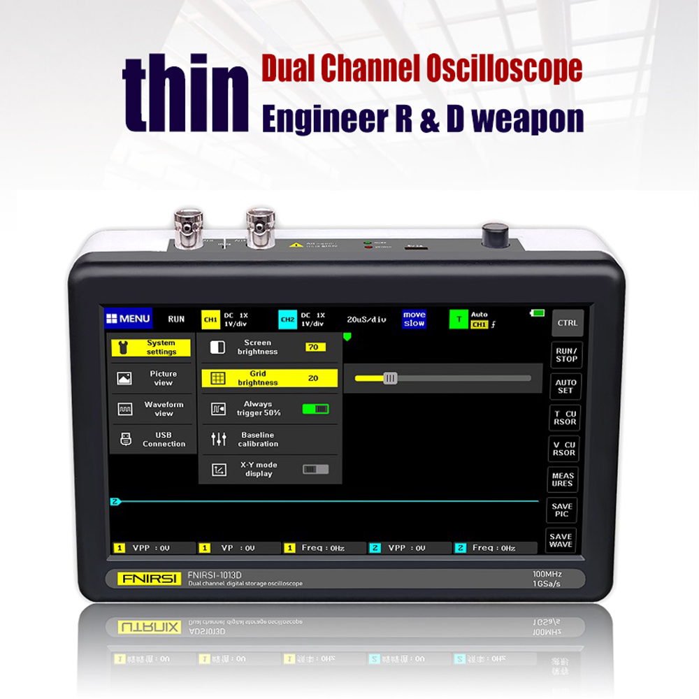 ADS1013D 2 Channels 100MHz Band Width 1GSa/s Sampling Rate Oscilloscope with 7 Inch Color TFT LCD Touching Screen| |   - AliExpress
