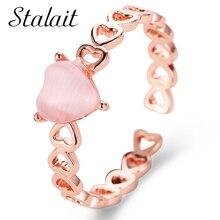 Открытое кольцо в форме сердца с открытым опалом маленькое свадебное