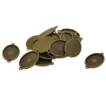 20 Pieces Oval Blank Cameo Cabochon Tray Base Bezel Setting Double Loops Charms Pendant Bracelet Connector Findings(China)