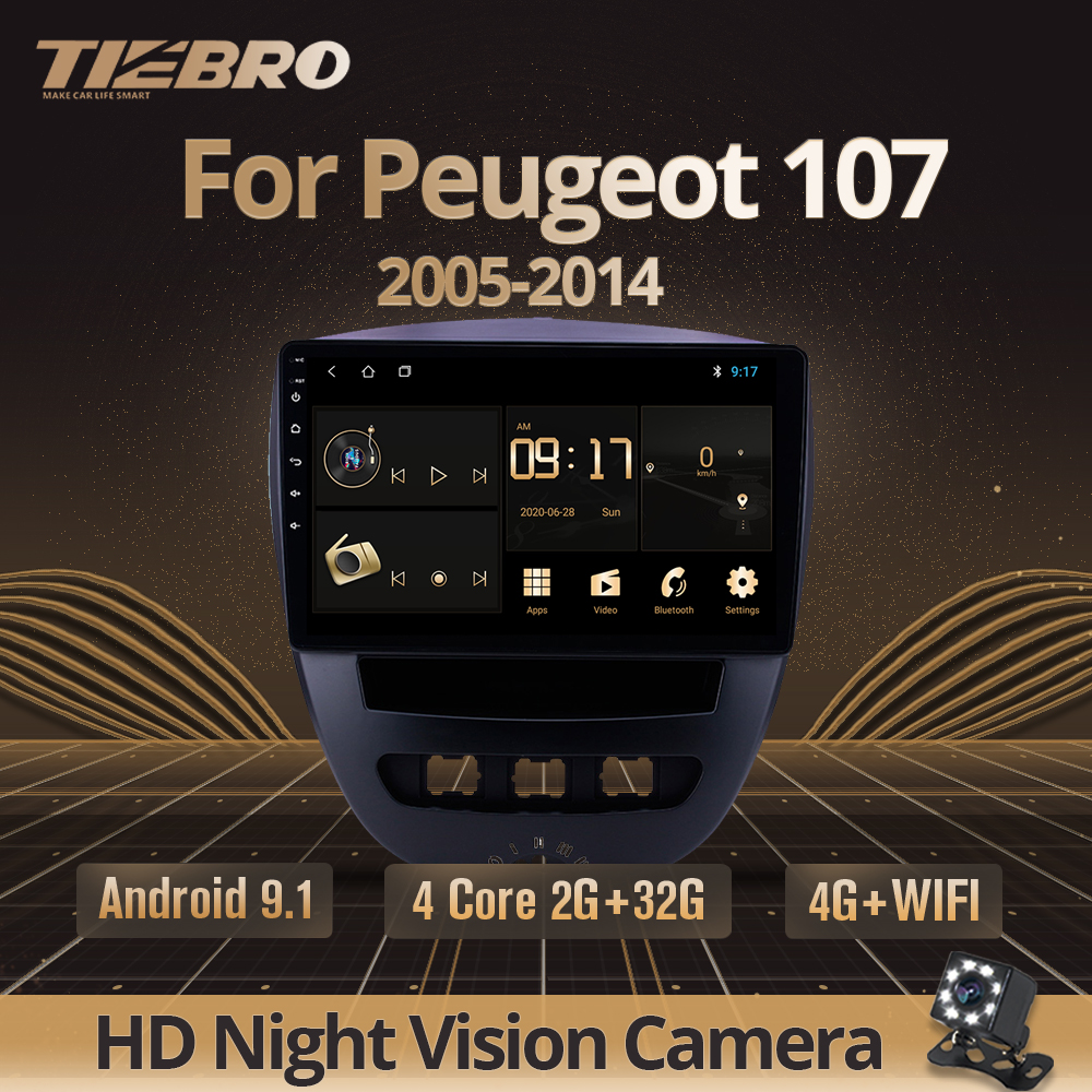TIEBRO 2DIN Android 9.0 Car Multimedia Video Player For Peugeot 107 Toyota Aygo Citroen C1 2005-2014 Car Radio Stereo Navigation image