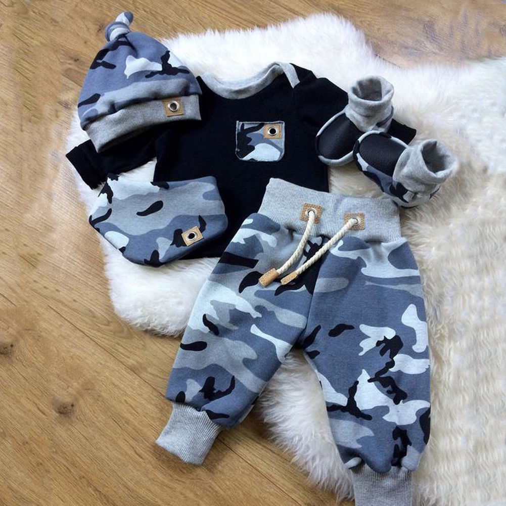 Pudcoco Autumn New Casual 3pcs Baby Boy Clothes Set Newborn Infant Boys Camouflage Top Long Pants Hat Outfits