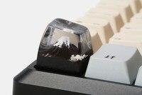 Feita à mão montagem fuji madeira & resina artisan teclado  sa micro paisagem tampa chave para cherry mx teclado mecânico