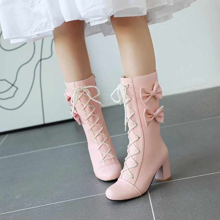PXELENA Lolita Princess ผู้หญิงกลางลูกวัวรองเท้า Sweet Lace Up Bow tie Chunky Block รองเท้าส้นสูงเจ้าสาวรองเท้าแต่งงานสีขาวคอสเพลย์สีชมพู