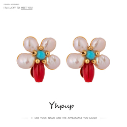 Yhpup Sweet Flower Plant Stud Earrings Natural Pearls Coral Elegant Earrings Exquisite Copper Brincos for Female Party 2020