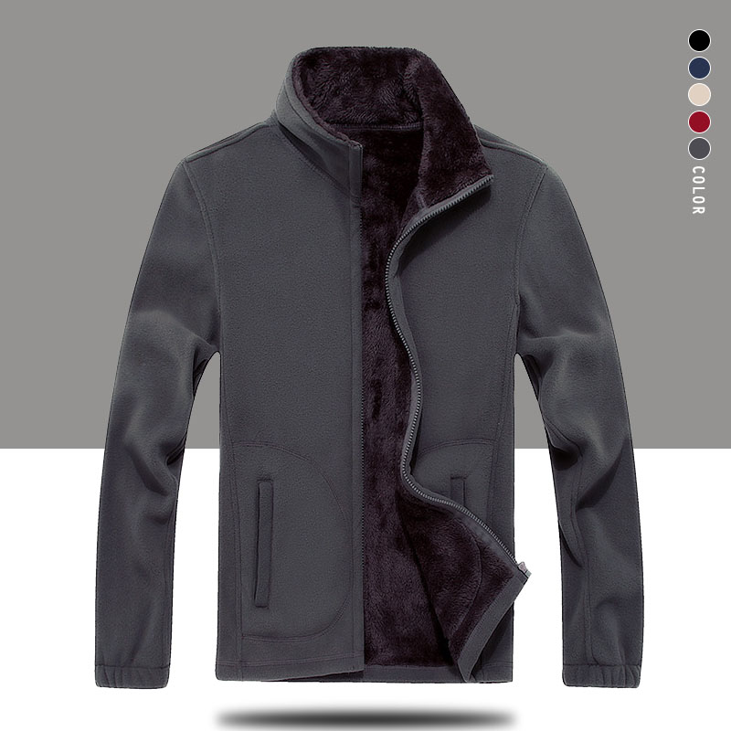 Зимняя мужская флисовая куртка, мужское теплое пальто 7XL 8XL, теплая толстовка, теплые пальто, Мужская однотонная утепленная уличная одежда, в...