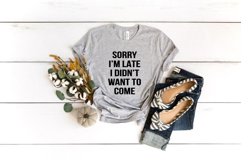 Hey Sorry Im Late I Didnt Want to Come Unisex T-Shirt Womens Mens Tee Size S-3XL