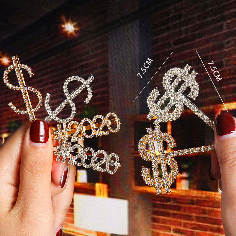 New 2020 $ Crystal Rhinestone Hair Clips Letter Hairpins Metal Barrettes Headwear Hair Styling Accessories For Women Girls