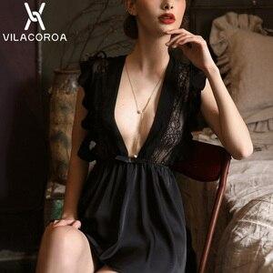 Image 5 - Seksi dantel gecelik kadın yaz pijama derin v yaka Ruffles Bow kadınlar Sleepdress perspektif günaha gecelik kadın
