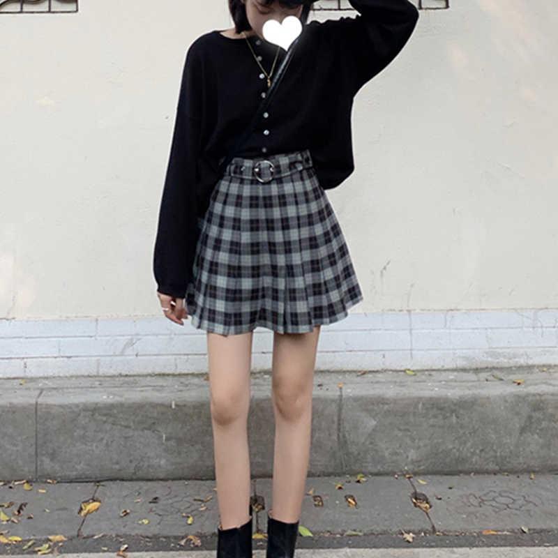 Insgoth Plaid Geplooide Mini Rokken Harajuku Grunge Winter Herfst Vrouwen Rokken Gothic Streetwear Hoge Taille Fashion Korte Rok