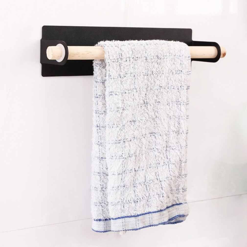 معدن جدار معلق حامل الخشب رف مناشف الحمام لفة ورقة خرقة حامل غشاء تغليف بلاستيكي تخزين رفوف اكسسوارات المطبخ