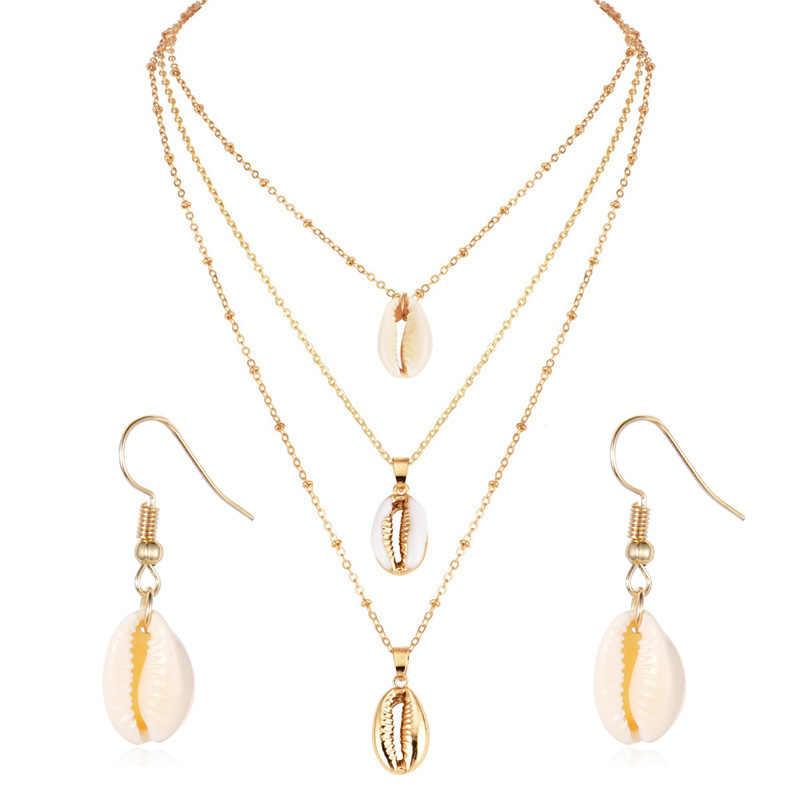 Vỏ mới Mặt Dây Chuyền Trang Sức Bộ Dành Cho Nữ Màu Vàng 2PC Đa Lớp Bông Tai Vòng Cổ Bộ Bohemia Jewellry Châu Phi Bộ Trang Sức