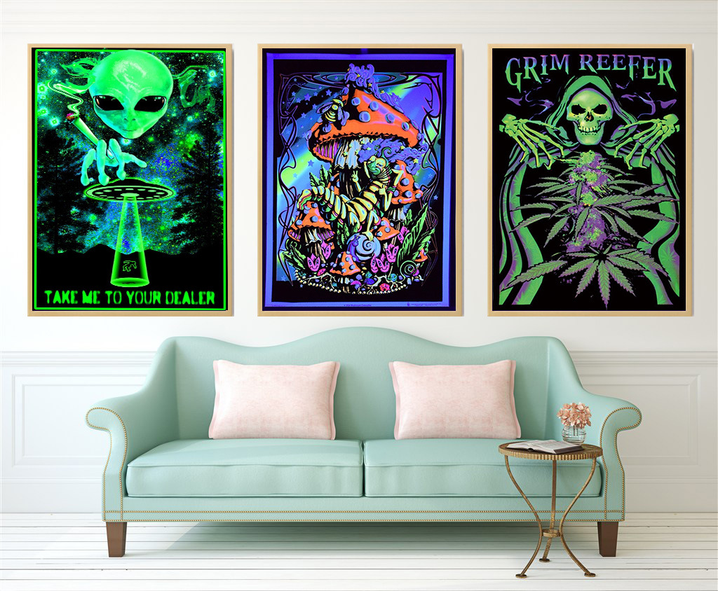 Wall Canvas Trippy-Poster Wall-Pictures Blacklight-Paintings Psychedelic Abstract Living-Room