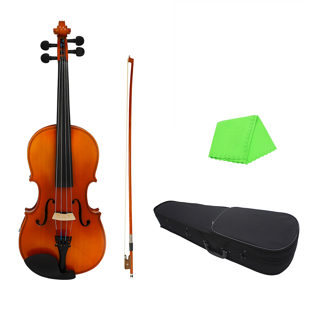 16inch Electric Viola EQ Spruce Wood with Bow Cleaning Cloth Carry Bag Natural Color with Backside Grain Violin instrument