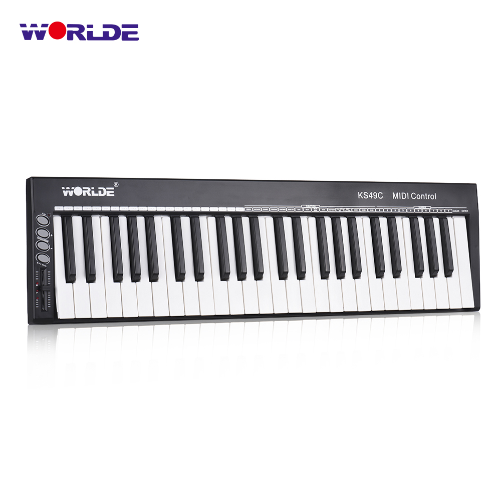 WORLDE KS49C-A 49-Key USB MIDI Keyboard Controller Built-in Sound Source with 6.35mm Pedal Jack MIDI Out Piano Keyboard Piano