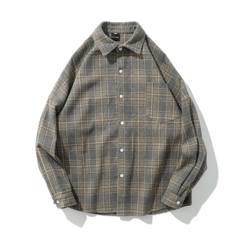 Mens Shirt Plaid Lapel Button Pure Color Vintage Pocket Long Sleeve Top Casual Loose Fashion Blouse