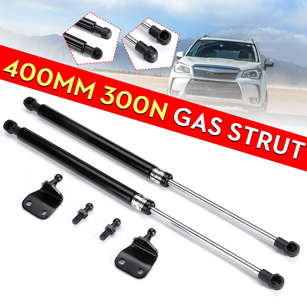 2X Universal 40cm 400mm 300N Car Struts Front Cover Bonnet Hood Rear Trunk Tailgate Boot Shock Lift Strut Support Bar Gas Spring