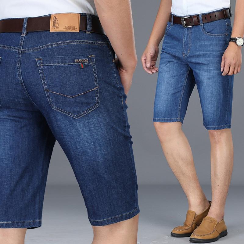 2019 Summer Thin Section Men's High-waisted Business Straight-Cut Short Knee-length Denim Shorts Versatile Casual Jeans Men's