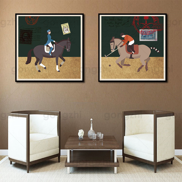 Gentleman Horse Racing Abstract Canvas Painting Wall Pictures for Living Room and Bedroom Nordic Home Decoration Art Posters