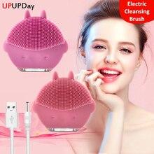 Yüz temizleme fırçası derin gözenekler temizleme cilt USB Mini yüz masajı su geçirmez yüz temizleyici güzellik makinesi silikon fırça