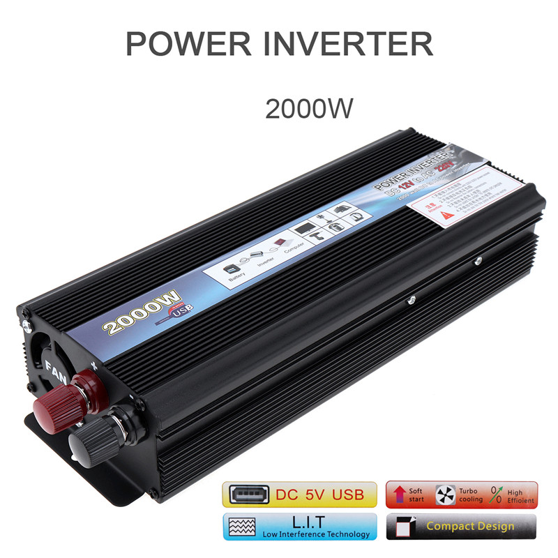 <font><b>2000W</b></font> DC 12V <font><b>24V</b></font> to AC <font><b>220V</b></font> 110V Aluminum Alloy Case Car <font><b>Inverter</b></font> Charger Converter Transformer with Vehicle Power Switch image