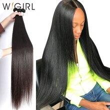 Wigirl 28 30 32 40 дюймов длинные Remy индийские человеческие волосы переплетения прямые 1 3 4 5 пучки сделки супер двойной нари