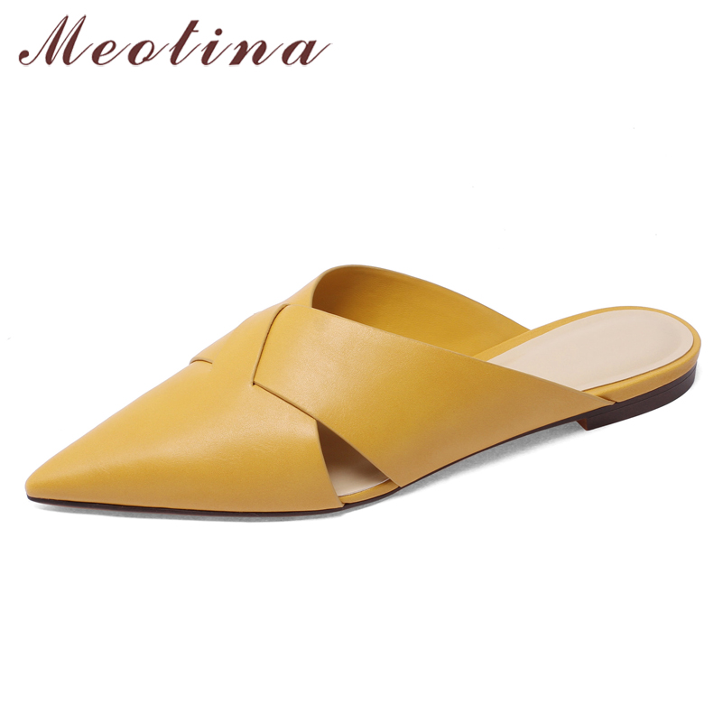 Meotina Women Pumps Mules Shoes Pointed Toe Natural Genuine Leather Slides Casual Low Heel  Sandals Lady Yellow Large Size 34-43