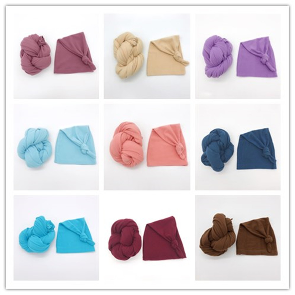 2pcs Stretch Baby Blanket Newborn Photo Props Photography Wraps Cap Swaddle Muslin Wraps Infant Photography Props