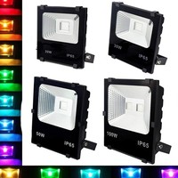 1pc RGB Floodlight 100W 50W 30W 20W 10W Led Flood Light Reflector Projector Lamp With Remote Controller Waterproof IP65 Floodlights     -