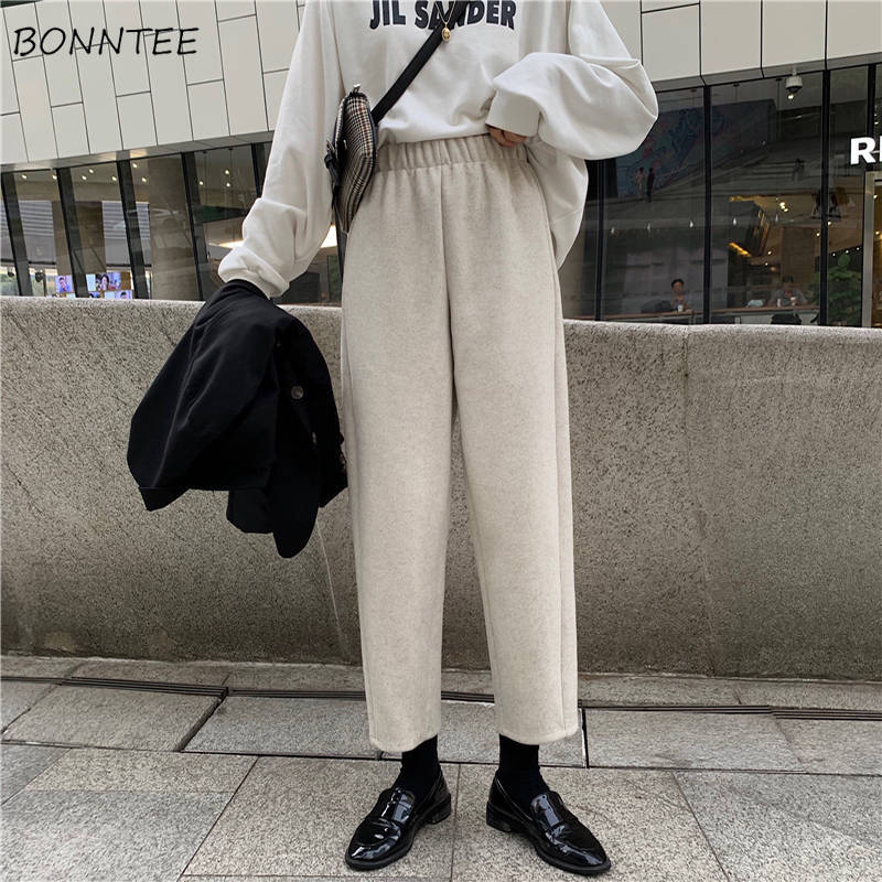 Pants Womens Elastic High Waist Casual Harajuku Women Trousers Solid Basic Simple Females Korean Style Fashion Trendy Lady Chic