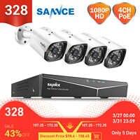 SANNCE 4CH 2MP XPOE H.264 System bezpieczeństwa wideo 4 sztuk 1080P zewnątrz odporne na warunki atmosferyczne widzenie nocne z wykorzystaniem podczerwieni kamera IP bezprzewodowy zestaw monitoringu nvr