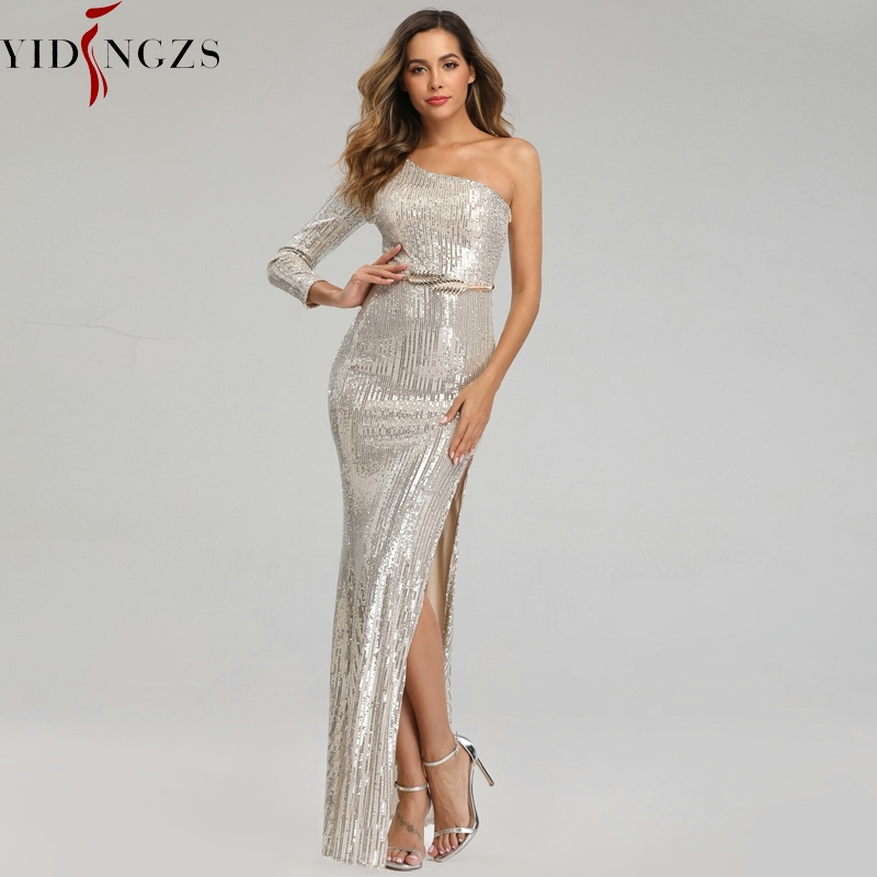 Robe De Soiree One-shoulder Silver Sequins   Evening     Dress   YIDINGZS Sexy Long Formal Party   Dress   2019